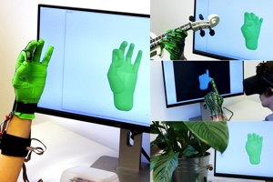 Interactive Hand Pose Estimation using a Stretch-Sensing Soft Glove